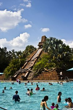 #Disney's Coronado Springs Resort features an impeccably-themed pool designed to look like the ancient ruins of a Mexican pyramid!