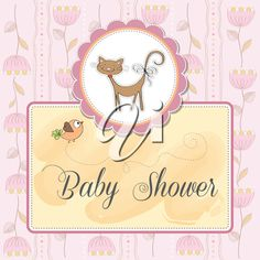 iCLIPART - Clip Art Illustration of a Baby Shower Invitation Design with a Cat