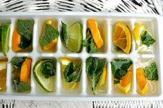 Citrus & mint ice cubes.