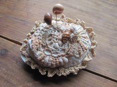 Freeform Crochet Pincushion On a Seashell with shell stitck pins OOAK