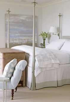 Guest bedroom - Designer Louise Brooks' Elegant Home on Long Island Sound - Traditional Home® Lynn Morgan Design Neutral Bedrooms, Bedroom Colors, Bedroom Decor, White Bedrooms, Seaside Bedroom, Bedroom Ideas, Masculine Bedrooms, Blue Bedroom, Bedroom Furniture