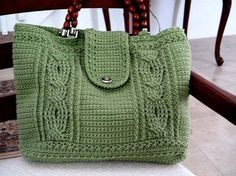Crochet cable bag