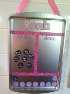 DIY chore charts... $1 store baking sheets, washi tape, magnetics, cardstock, and stickers...super easy and cheap