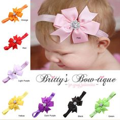 Baby Bow Headband w/ Rhinestones $ 7.99  TO PURCHASE CLICK THE LINK BELOW http://brittys-bow-tique.myshopify.com/collections/headbands/products/baby-bow-headband-w-rhinestones