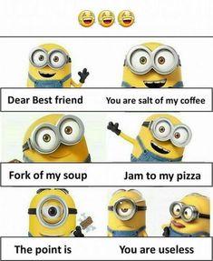 Funny Texts Jokes, Funny Minion Memes, Funny Insults, Funny School Jokes, Very Funny Jokes, Really Funny Memes, Jokes Quotes, Funny Facts, Minions Quotes