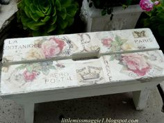 Last week I showed you my Jeanne d' Arc inspired bench and I told you I purchased two of these little cuties at the salvage yard. Distressed Furniture, Recycled Furniture, Shabby Chic Furniture, Painted Furniture, Diy Furniture, Decoupage Wood, Decoupage Vintage, Decoupage Ideas, Shabby Chic Cottage