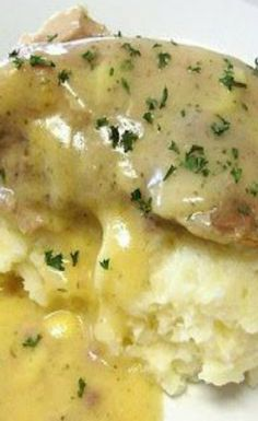 Crockpot Ranch Pork Chops with Parmesan Mashed Potatoes