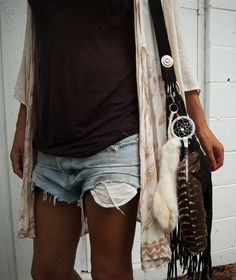 black tee or tank, ivory cardi, denim shorts, black nylons, bag