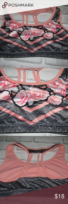 Justice girls sports bra flowers size 36 Justice Girls sports bra gray and  peach with flowers band size 36 excellent used condition Justice Shirts    Tops 86281d815