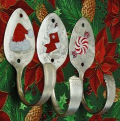 3 Silver Spoons Hand Painted Holiday Combo Hooks  Limited Edition SALE. $45.00, via Etsy.