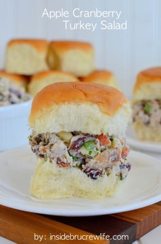 Apple Cranberry Turkey Salad - use your holiday leftovers to enjoy this delicious turkey salad on King's Hawaiian Rolls  www.insidebrucrewlife.com