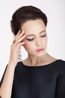 Mode, Modell, Frau, Schwarzes Kleid