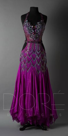 15NDS100032-01 Ballroom Dance Dresses, Ballroom Dancing, Purple Outfits, Dance Outfits, Dress To Impress, Ball Gowns, Prom Dresses, Dance Costume, Clothes