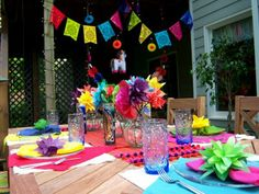 Colorful Fiesta Decor: Paper Flowers and Garland