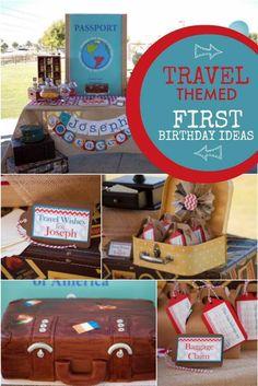 Boy's Themed World Traveler First Birthday Party Ideas