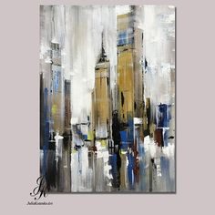 City Abstract Painting Artworks Cityscape Original Painting