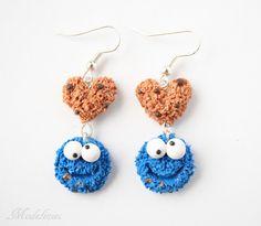 Kolczyki z Ciasteczkowym Potworem/ Polymer clay Cookie Monster earrings #polymerclay #cookiemonster #earrings