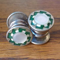 Vintage 1920s Button Cuff Links with Green and by BriarVintage, $65.00