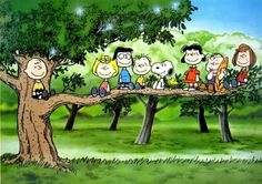 Charlie Brown, Snoopy, and the whole Peanuts Gang.