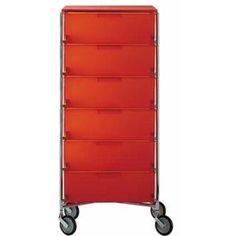 Mobil 6 Tiroirs sur Roulettes - orange