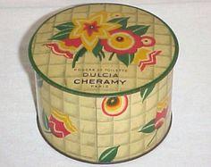 Vintage Dulcia Cheramy Powder Box 1930's Art Deco Cosmetic Tin Flower Lithograph Advertising Can