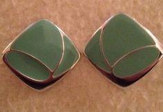 Vintage Caribbean Green Fake Silver Fashion Earrings Gift Spring Summer