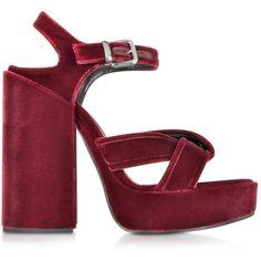 Jil Sander Shoes Bordeaux Velvet Platform Sandal featuring polyvore, women's fashion, shoes, sandals, heels, jil sander, open toe shoes, heeled sandals, open toe heel sandals, criss-cross sandals and jil sander sandals