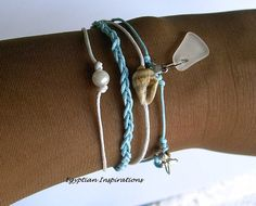 Sea shell bracelet with sea glass and by EgyptianInspirations, $23.99