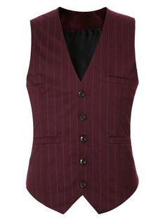 Striped Buckle Back Single Breasted Vest For Men