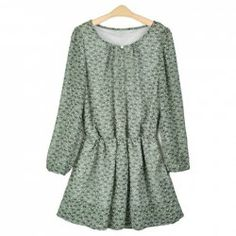 $6.29 Casual Style Elastic Waist and Cuff Tiny Floral Print Loose-Fitting Chiffon Blouse For Women