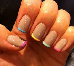 subtle rainbow nails, just bought Sand Tropez from Essie to try this...