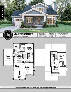 cottage style plan Martin Court – cozy home warm Brick House Plans, Large House Plans, Porch House Plans, Sims House Plans, Basement House Plans, House Plans One Story, Craftsman House Plans, New House Plans, Dream House Plans