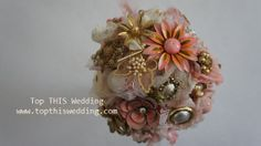 Brooch Bouquet with fabric  Made to Order Large by topthiswedding, $290.00