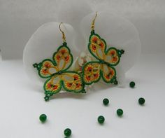 """Yellow and green earrings """"Rainbow Butterfly"""", tatted earrings, tatting jewellery, tatting lace earrings,  summer earrings, dangle earrings"""