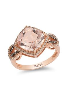 Gemma 14K Rose Gold Morganite and Diamond Ring, 3.65 TCW
