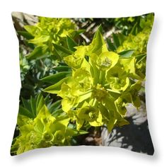 All Throw Pillows - Green Flowers Throw Pillow by Lovina Wright