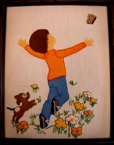 My mother made this for her grandson, Neil.  A boy happily running to chase a butterfly - perfect for a grandson like to be outside with nature.
