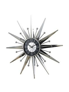George Nelson Metal Sunray Clock, Silver/Black at MYHABIT