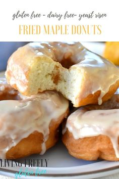 These are the gluten free fried donuts you've been waiting your entire gluten free life for. I perfected them! They are gluten free, dairy free, yeast risen and deep fried maple donuts that you cut out with a donut cuter. Your going to fall madly in love Gluten Free Doughnuts, Gluten Free Sweets, Gluten Free Baking, Gluten Free Dairy Free Donut Recipe, Gluten Free Pancakes, Gluten Free Recipes For Breakfast, Dairy Free Recipes, Celiac Recipes, Free Breakfast