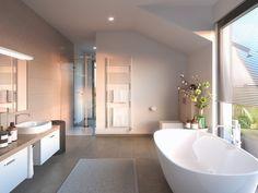 Badezimmer modern mit Dachschräge - Inneneinrichtung Haus Concept-M 155 Bien Zenker - HausbauDirekt.de