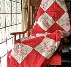 Antique Quilt Red and White Embroidered Quilted by cynthiasattic