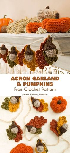 Acorn Garland and Pumpkins Free Crochet Pattern Here you will find a lovely pattern not only for acorn and leaf garland, but also for mini crocheted pumpkins. Crochet Garland, Crochet Decoration, Crochet Ornaments, Crochet Fall Decor, Crochet Christmas Garland, Autumn Crochet, Crochet Leaves, Crochet Stars, Crochet Flowers