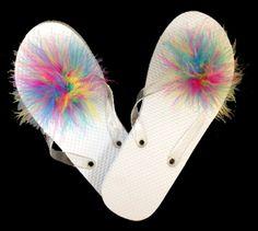 "Shoe Clips : SCCM28 Marabou Shoe Clip Multi 3 1/2"" Diameter 1 Pair  Marabou Shoe Clip Multi 3 1/2"" diameter 1 pair.  SHOP FEATHERS: www.featherplace.com"
