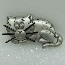 Vintage JJ Jonette Jewelry Pewter Sleeping Cat Kitty Kitten Whiskers Pin Brooch