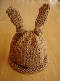 Baby Bunny Newborn or Preemie Hat! (Free Pattern)... This ALMOST makes me want to learn to knit or crochet... or it just makes me want to beg someone who does to make this.