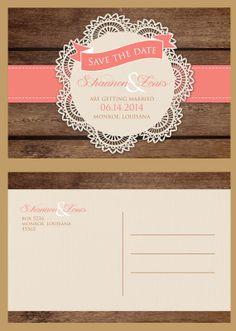 personalized lace and woodand wedding save by IDoWeddingDesigns47, $75.00