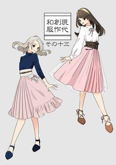 """❀花月❀ on Twitter: """"帯風ベルト×和洋コーデ😍✨… """" Anime Girl Dress, Anime Art Girl, Japan Fashion, Fashion Art, Modern Kimono, Drawing Anime Clothes, Kimono Design, Art Costume, Fantasy Dress"""