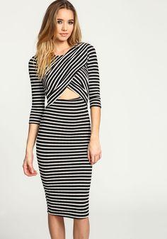 Black Striped Wrap Cut Out Midi Dress - Love Culture a3bafe376