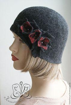 """Купить Шляпка """"Черный пруд"""" - шляпы, валяная шляпа, 100% шерсть меринос, шёлк волокна"""