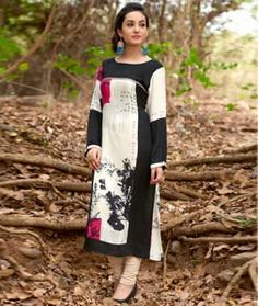 Shop Cream Cotton Printed Readymade Kurti 72457 online at best price from vast collection of designer kurti at Indianclothstore.com.